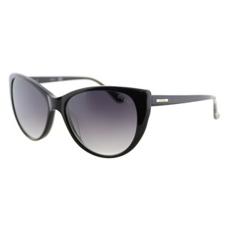 Guess GU 7427 01B Shiny Black Plastic Cat-Eye Sunglasses Grey Gradient Lens