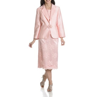 Ella Belle Women's Soutache Embellished 3 Piece Skirt Suit