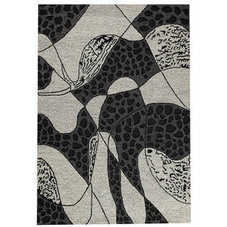 M.A.Trading Hand-Tufted Indo Riddle Black/ White Rug (5'2 x 7'6)