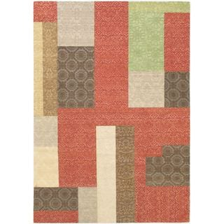 Ecarpetgallery Handmade Collage Red Viscose Dhurrie Rug (5'5 x 7'9)