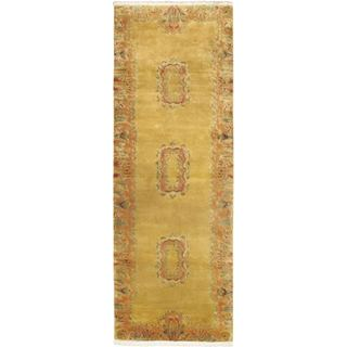 Ecarpetgallery Hand-knotted Silk Touch Yellow Wool Rug (4'2 x 11'10)