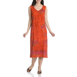 La Cera Women's Fish Print Sleeveless Dress