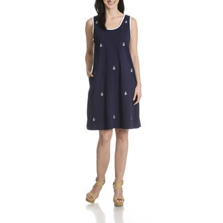 La Cera Women's Anchor Embroidery Sleeveless Dress