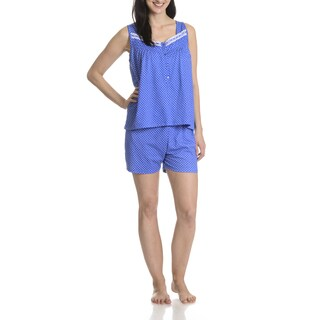 La Cera Women's Blue Polka Dot Pajama Shorts 2-piece Set