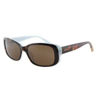 Guess GU 7408 52E Dark Havana On Blue Plastic Cat-Eye Sunglasses Brown Lens
