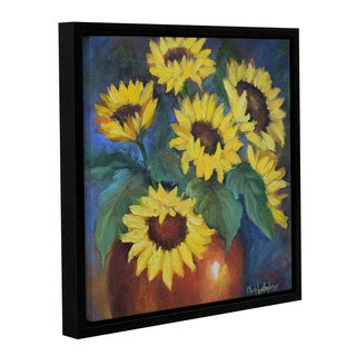 Cheri Wollenberg's ''Sunflowers' Copper And Sky ' Gallery Wrapped Floater-framed Canvas