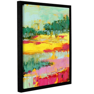 Pamela J. Wingard's 'Abstract Marsh Bright' Gallery Wrapped Floater-framed Canvas