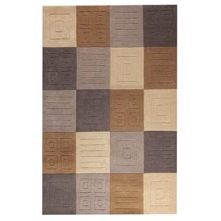 M.A. Trading Hand-tufted Indo Cuadro Grey/ Beige Rug (5' x 7')