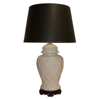 Crown Lighting 1-light White Lattice Temple Jar Table Lamp with Black Linen Drum Shade