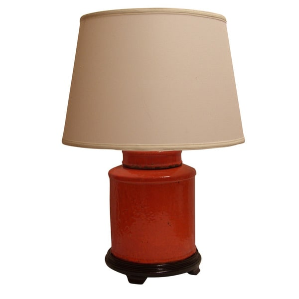 Crown Lighting 1-light Burnt Orange Distressed Jar Table Lamp with Cream Drum Shade