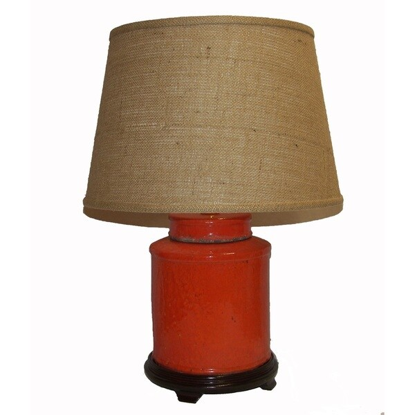 Crown Lighting 1 Light Burnt Orange Distressed Jar Table Lamp With Brown Burlap Drum Shade