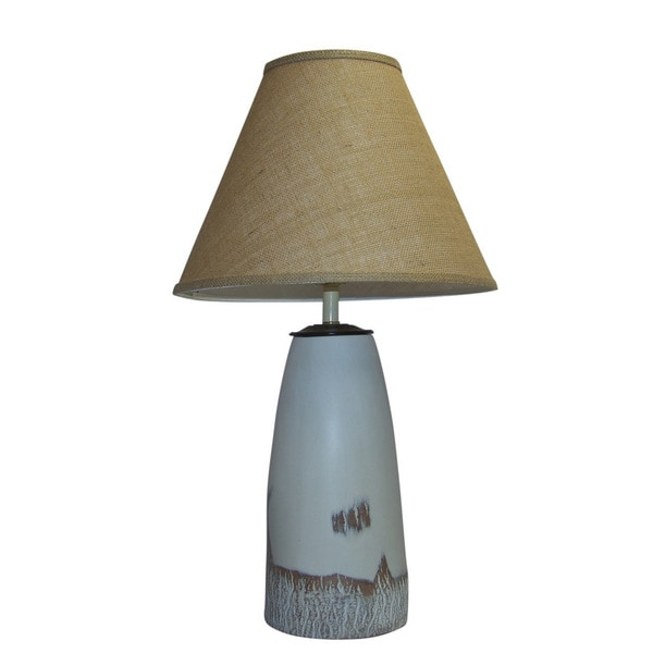 Crown Lighting 1-light White Cottonwood Ceramic Table Lamp with Brown Burlap Empire Shade