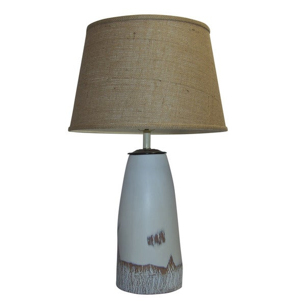 Crown Lighting 1-light White Cottonwood Ceramic Table Lamp with Brown Burlap Drum Shade
