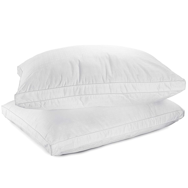 Down Alternative Pillow 100-percent Cotton Top Bed Pillow by Mastertex (Set of 2) - White. Opens flyout.
