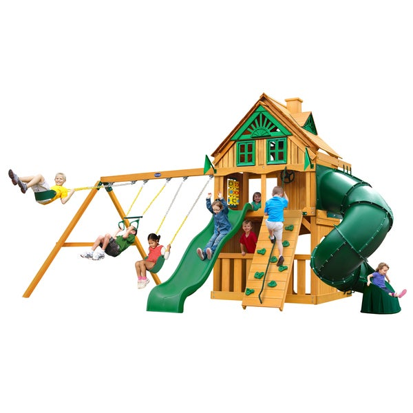 Gorilla Playsets Mountaineer Clubhouse Treehouse Cedar Swing Set with Fort Add-On and Natural Cedar Posts - Brown