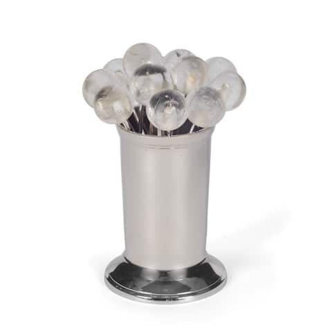Polished Nickel Clear Party Picks (Set of 12)