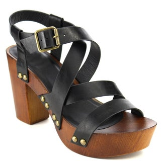 Beston FB16 Women's Criss Cross Studded Buckled Platform Heels