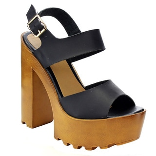 Beston FA84 Women's Lug Sole Platform Buckle Strap Chunky Heel Sandals