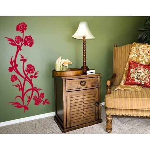 S&A Rose Bush Wall Decal (24in x 45in Pink) (Vinyl)