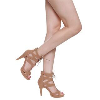 Beston CC40 Women's Stiletto Heel Open Toe Platform Gladiator Style Lace-up Calf Party Sandals
