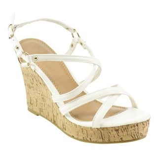 Spirit Moda FB22 Women's Criss Cross Sling Back Ankle Strap Wedges Sandals