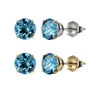 10k White Gold or Yellow Gold 8mm Round Swiss Blue Topaz Stud Earrings