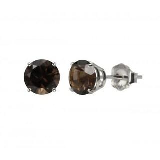 10k White Gold or Yellow Gold 8mm Round Smoky Quartz Stud Earrings (Option: White - White Gold - White - White)