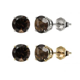10k White Gold or Yellow Gold 8mm Round Smoky Quartz Stud Earrings