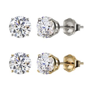 10k White Gold or Yellow Gold 8mm Round Lab-Created White Sapphire Stud Earrings