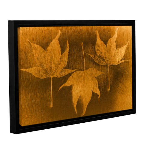 ArtWall Don Schwartz's 'Three Maple Leaves 2' Gallery Wrapped Floater-framed Canvas - Gold/Black