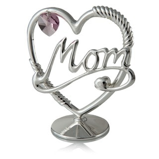 Silverplated 'Mom in a Heart' Table Top Ornament Made with Genuine Pink Matashi Crystal