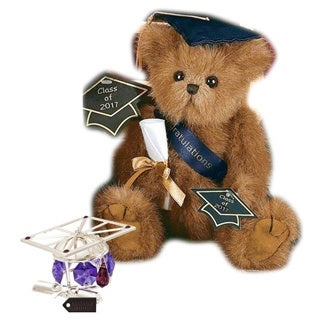 Bearington Plush Smarty 2017 Graduation Teddy Bear with Matashi Silverplated Graduation Hat Ornament with Lavender Crystals