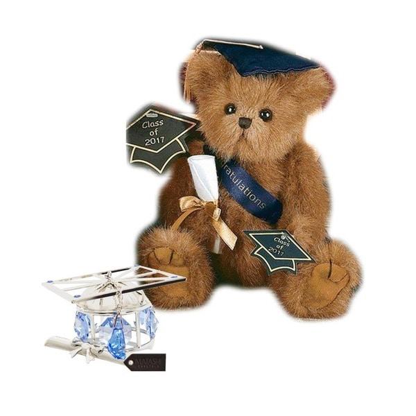 Bearington Plush Smarty 2017 Graduation Teddy Bear with Matashi Silverplated Graduation Hat Ornament with Blue Crystals