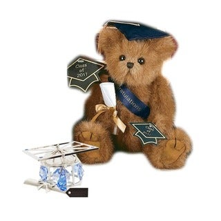 Bearington Plush Smarty 2016 Graduation Teddy Bear with Matashi Silverplated Graduation Hat Ornament with Blue Crystals