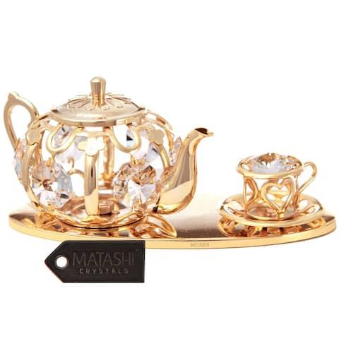24k Goldplated Tea Set Ornament Made with Genuine Matashi Crystals
