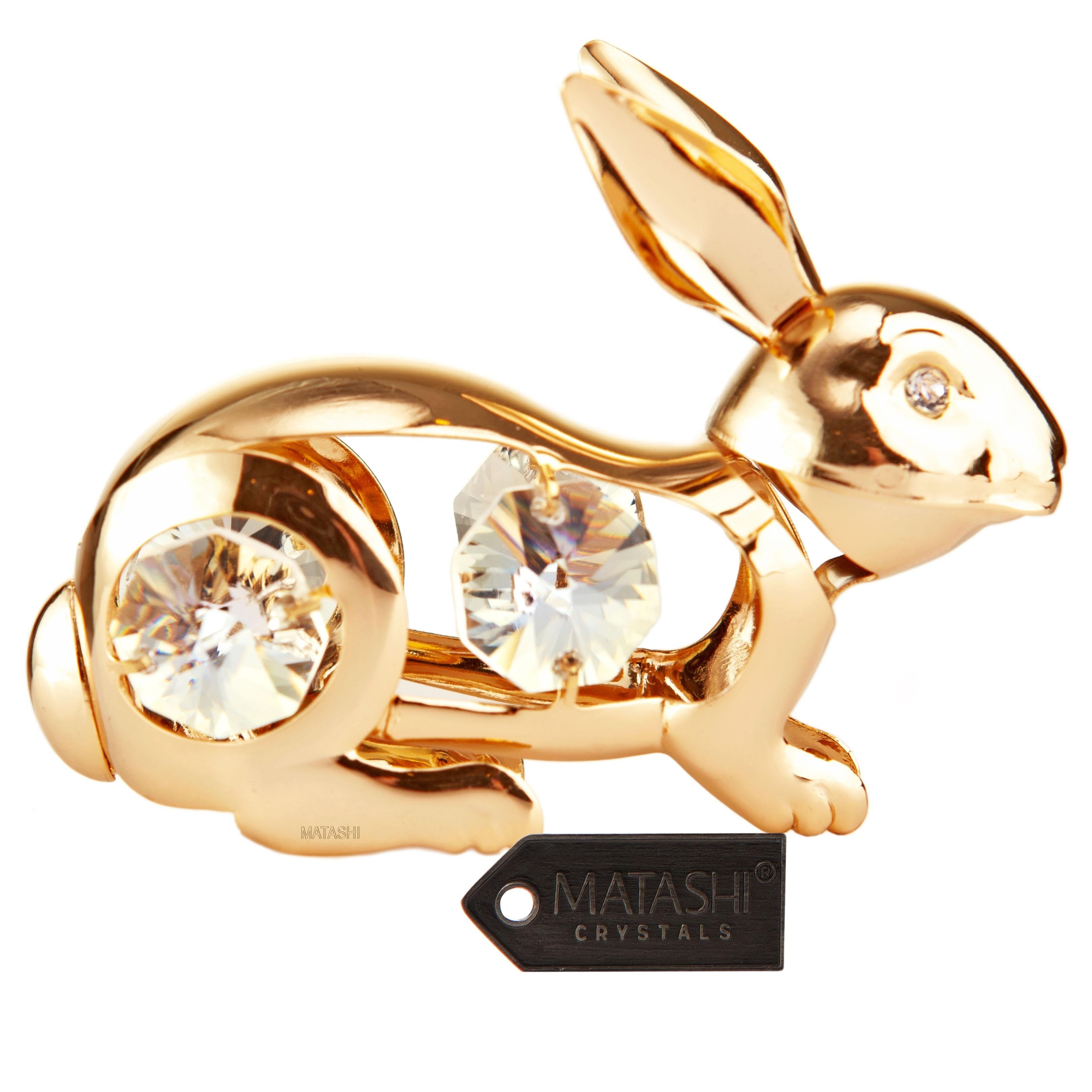 24k Goldplated Ornament Made with Genuine Matashi Crystals (Rabbit Ornament)