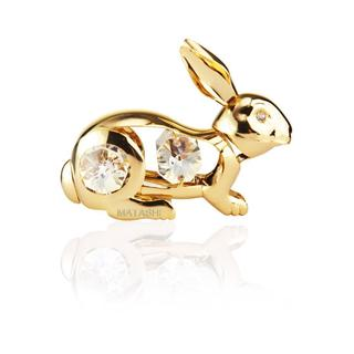 24k Goldplated Rabbit Ornament Made with Genuine Matashi Crystals
