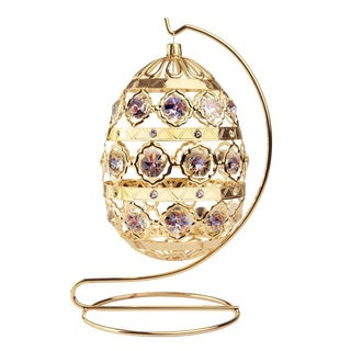 24k Goldplated Ornate Easter Egg Ornament Made with Genuine Matashi Crystals