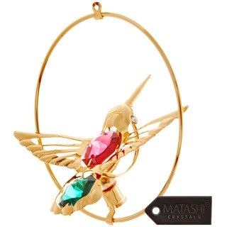24k Goldplated Highly Polished Hummingbird Ornament Made with Genuine Red and Green Matashi Crystals