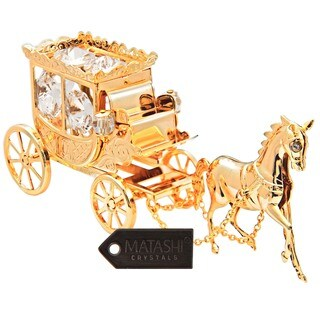 24k Goldplated Highly Polished Horse Drawn Carriage Ornament Made with Genuine Matashi Crystals