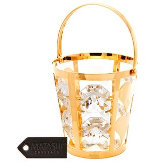 24k Goldplated Bucket Ornament Made with Genuine Matashi Crystals
