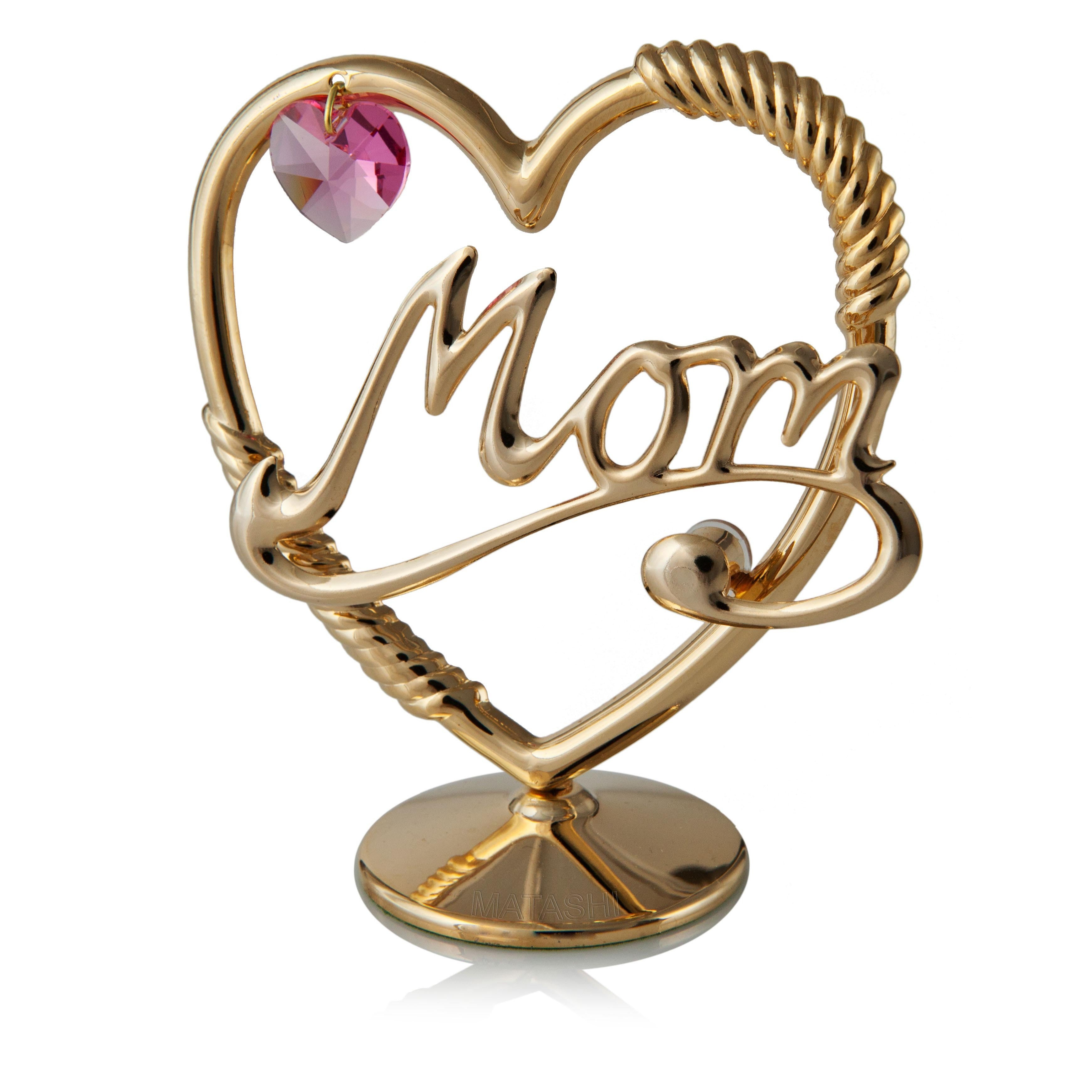 24k Goldplated Mom in a Heart Table Top Ornament Made with Genuine Pink Matashi Crystals (Gold Mom in a Heart with Pink Crystal)