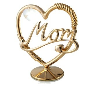 24k Goldplated Mom in a Heart Table Top Ornament Made with Genuine Matashi Crystals