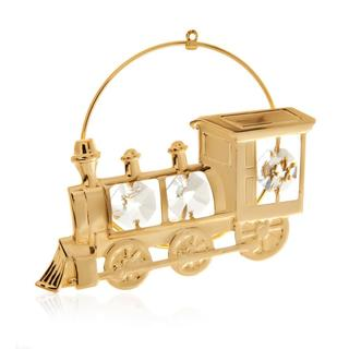 24k Goldplated 2-D Locomotive Train Ornament Made with Genuine Matashi Crystals