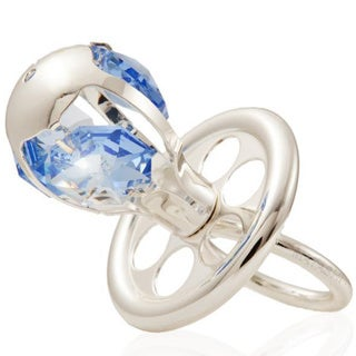 Silverplated Pacifier Ornament Made with Genuine Matashi Blue Crystals