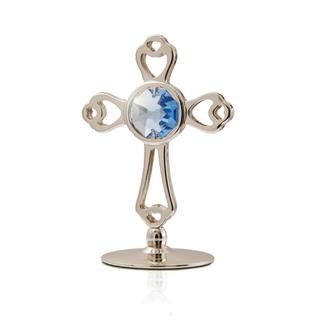 Silverplated Highly Polished Small Cross Table Top Made with Genuine Blue Matashi Crystals