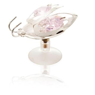 Silverplated Highly Polished Adorable Small Lady Bug Ornament/Table Top Made with Genuine Light Pink and Clear Matashi Crystals