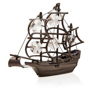 Charcoal Metal Plated Ship Made With Genuine Matashi Crystals