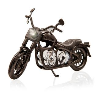 Charcoal Metal Motorcycle Made With Genuine Matashi Crystals