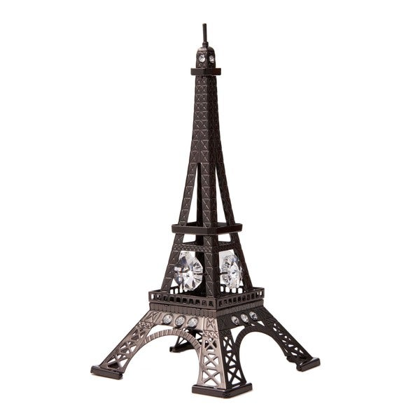Charcoal Metal Eiffel Tower Figurine Made with Genuine Matashi Crytals